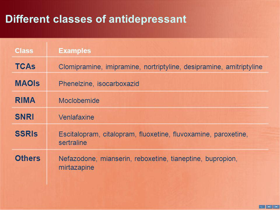 Different classes of antidepressant