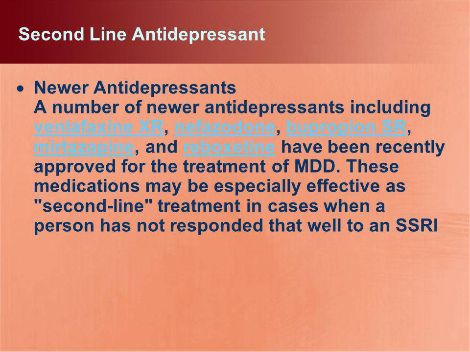 Second Line Antidepressant