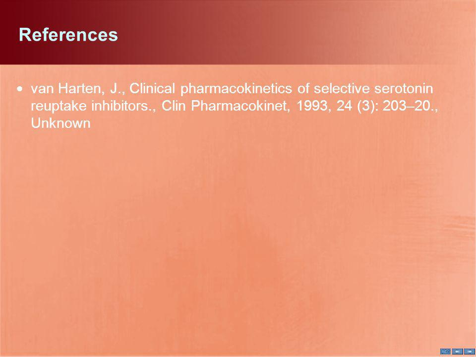 References van Harten, J., Clinical pharmacokinetics of selective serotonin reuptake inhibitors., Clin Pharmacokinet, 1993, 24 (3): 203–20., Unknown.