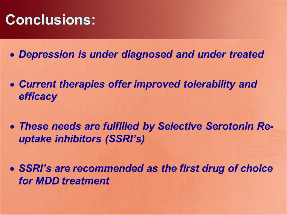 Conclusions: Depression is under diagnosed and under treated