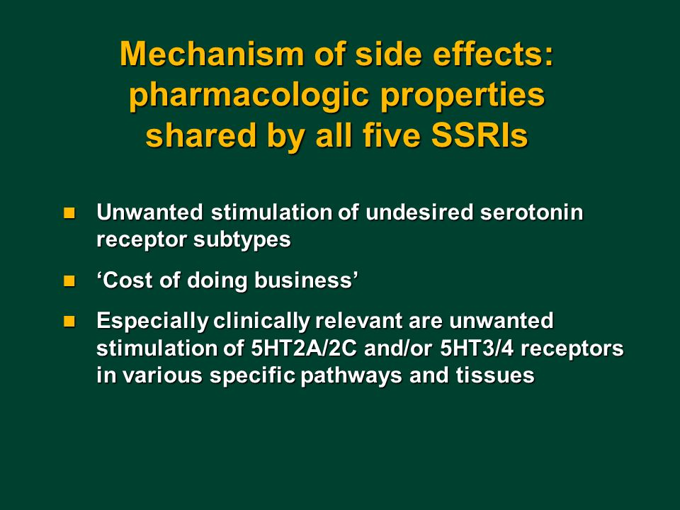 Mechanism of side effects: pharmacologic properties shared by all five SSRIs