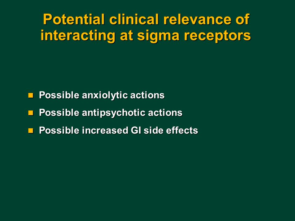 Potential clinical relevance of interacting at sigma receptors
