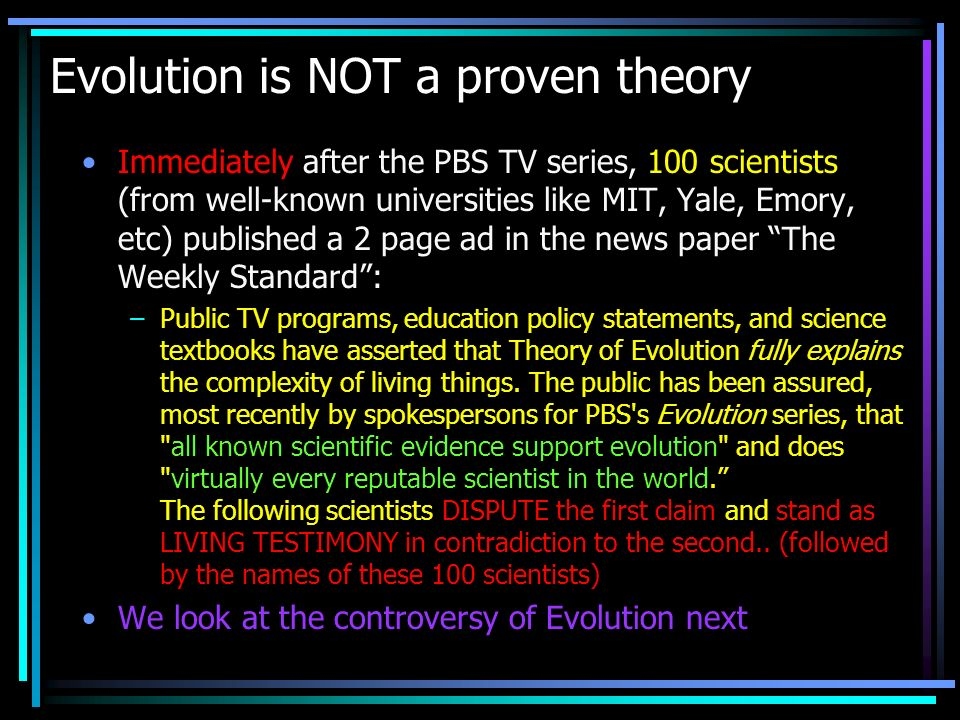 Evolution is NOT a proven theory