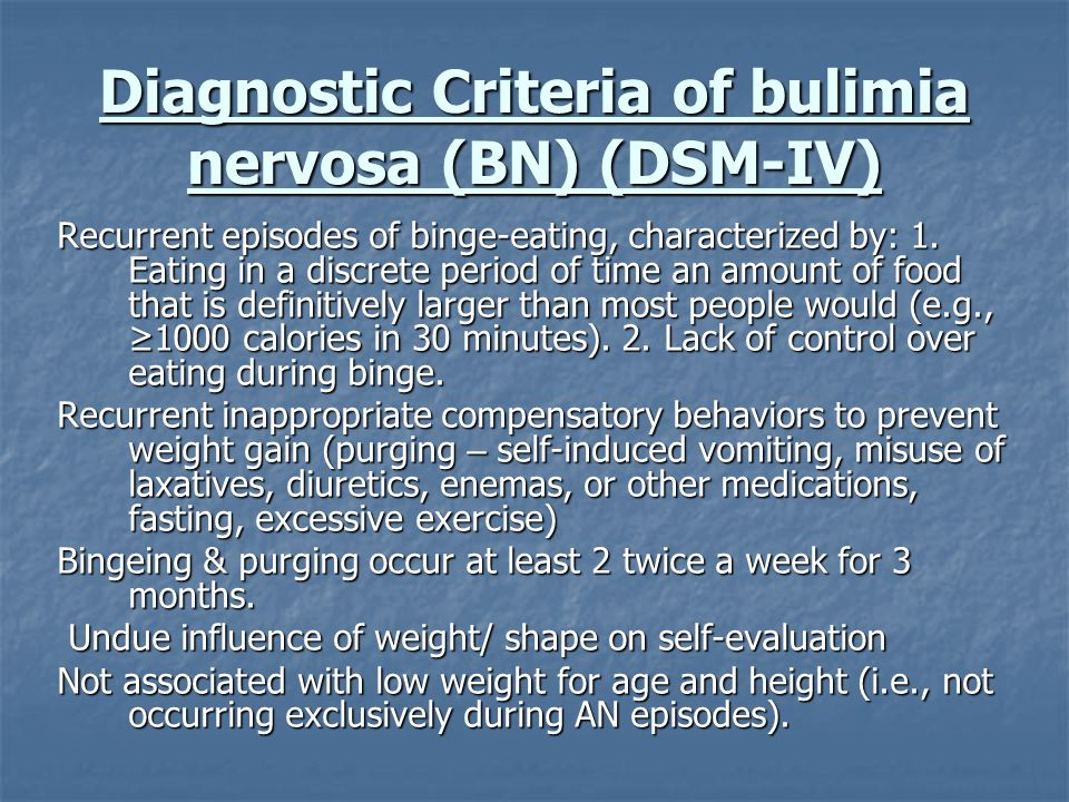 Diagnostic Criteria of bulimia nervosa (BN) (DSM-IV)