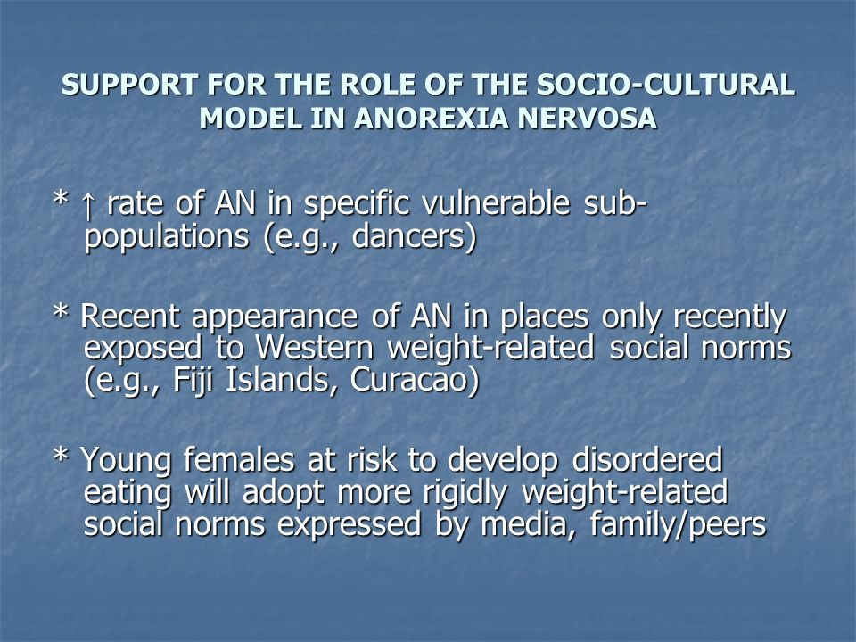 SUPPORT FOR THE ROLE OF THE SOCIO-CULTURAL MODEL IN ANOREXIA NERVOSA