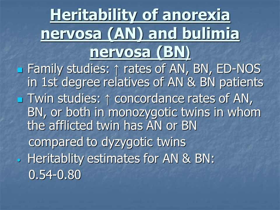 Heritability of anorexia nervosa (AN) and bulimia nervosa (BN(