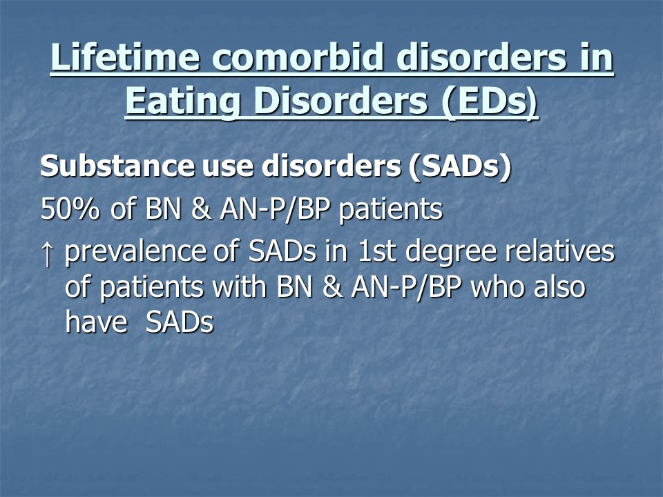 Lifetime comorbid disorders in Eating Disorders (EDs(