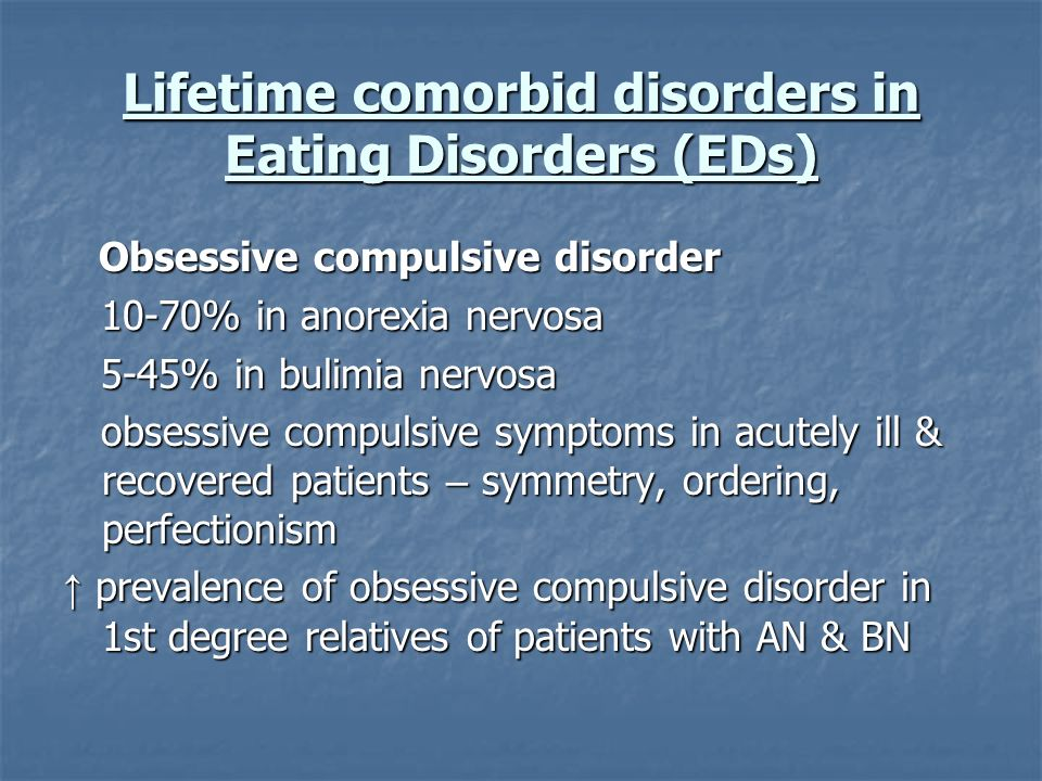 Lifetime comorbid disorders in Eating Disorders (EDs)