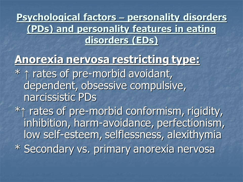 Anorexia nervosa restricting type: