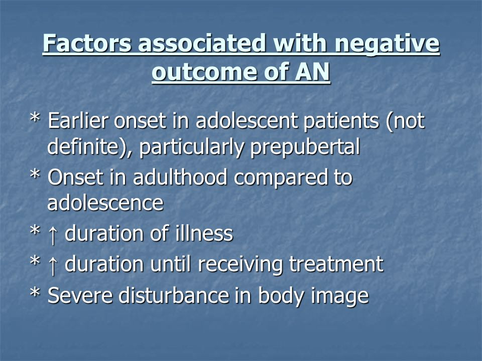 Factors associated with negative outcome of AN