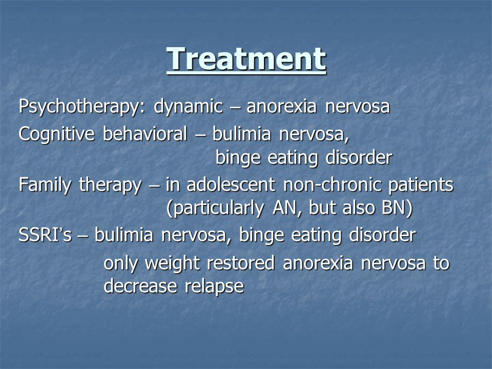 Treatment Psychotherapy: dynamic – anorexia nervosa
