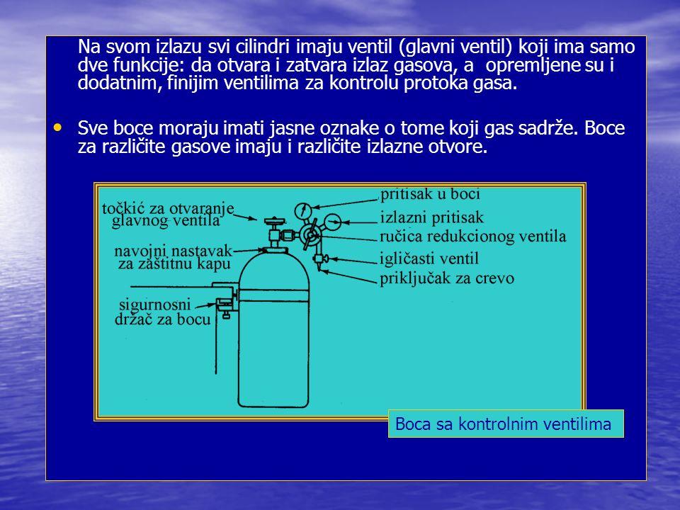 Na svom izlazu svi cilindri imaju ventil (glavni ventil) koji ima samo dve funkcije: da otvara i zatvara izlaz gasova, a opremljene su i dodatnim, finijim ventilima za kontrolu protoka gasa.