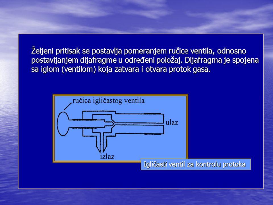 Željeni pritisak se postavlja pomeranjem ručice ventila, odnosno postavljanjem dijafragme u određeni položaj. Dijafragma je spojena sa iglom (ventilom) koja zatvara i otvara protok gasa.