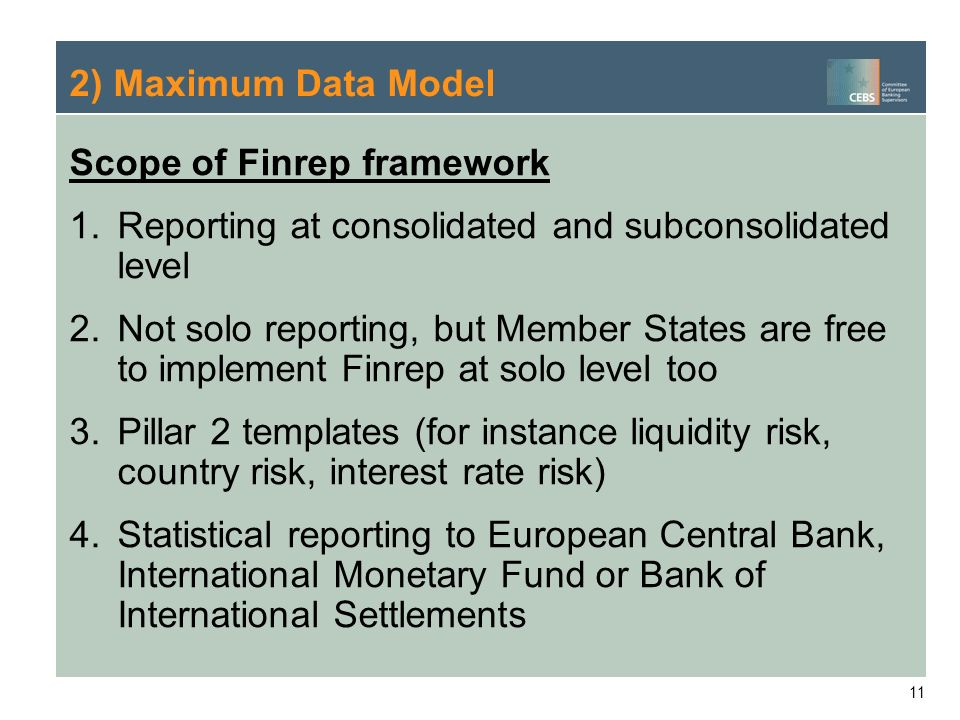 2) Maximum Data Model Scope of Finrep framework. Reporting at consolidated and subconsolidated level.