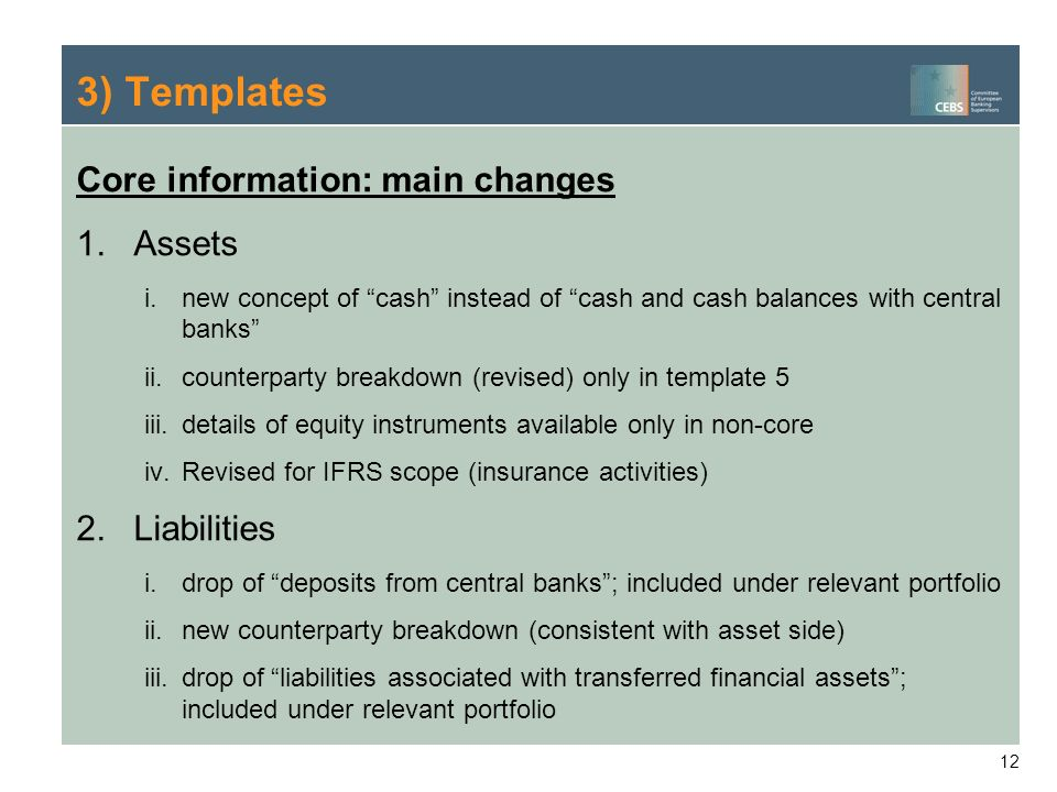 3) Templates Core information: main changes Assets Liabilities