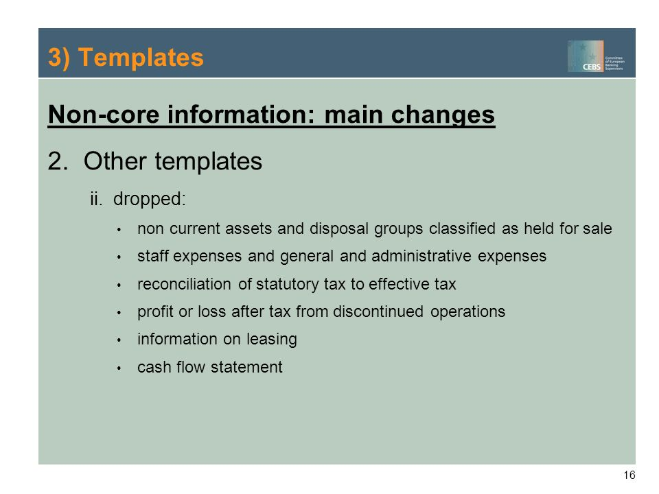Non-core information: main changes Other templates