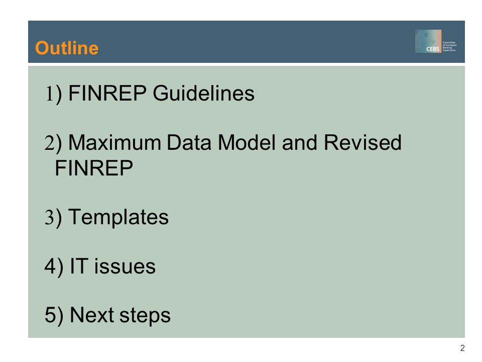 ) Maximum Data Model and Revised FINREP