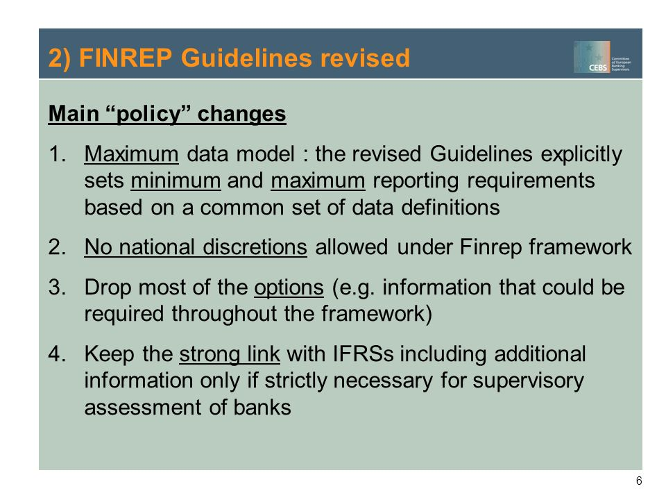 2) FINREP Guidelines revised