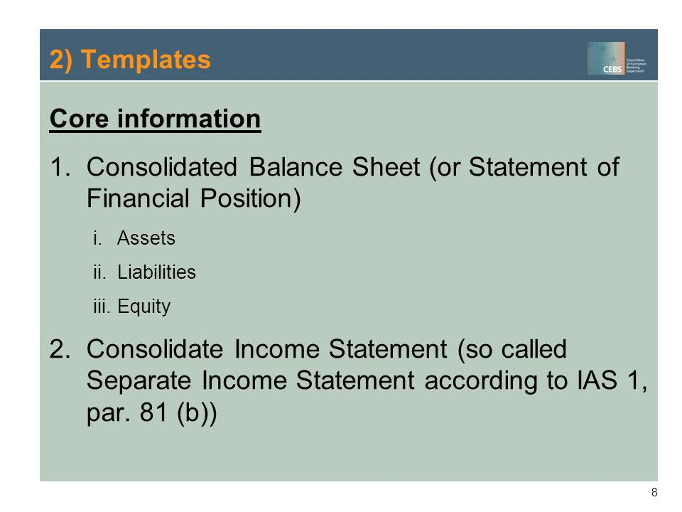 Consolidated Balance Sheet (or Statement of Financial Position)