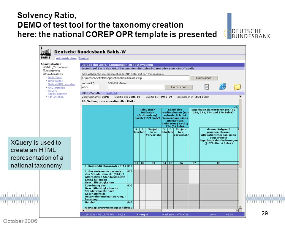 Solvency Ratio, DEMO of test tool for the taxonomy creation here: the national COREP OPR template is presented