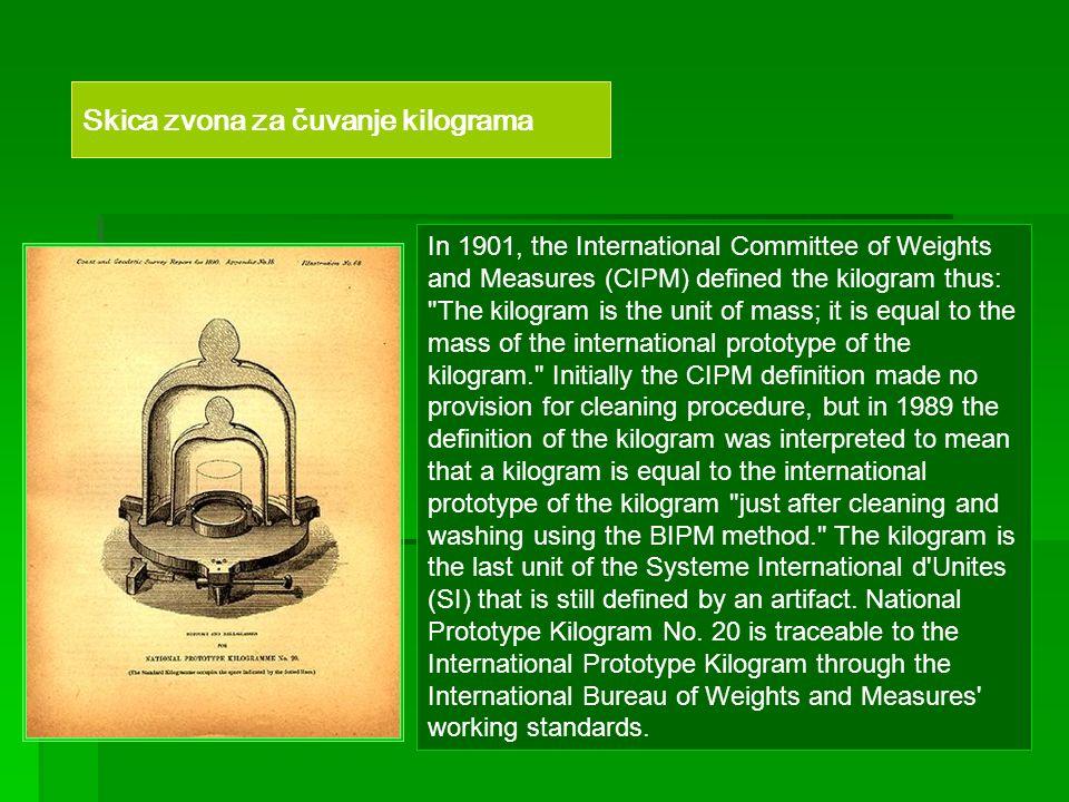 Skica zvona za čuvanje kilograma