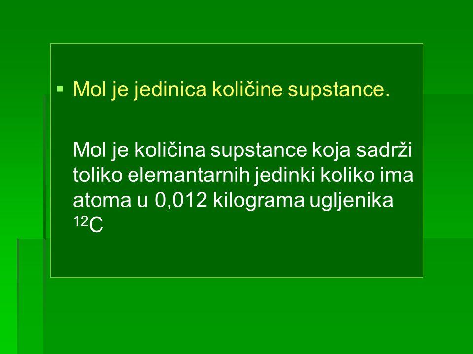 Mol je jedinica količine supstance.
