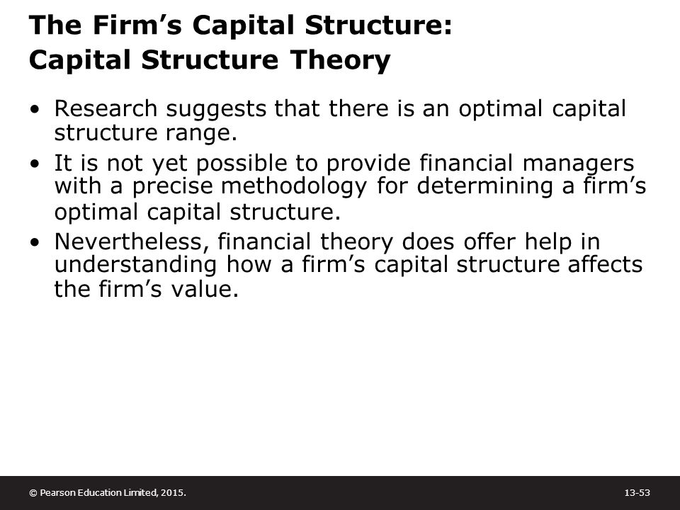 analyse the development of capital structuring theory This paper surveys literatures on five theories of capital structure theories from  modigliani and miller  system, law and regulations, development of capital and  debt  levels of analysis: i do individual firms follow the mean.