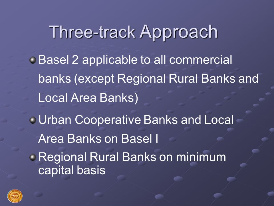 Three-track Approach Basel 2 applicable to all commercial banks (except Regional Rural Banks and Local Area Banks)