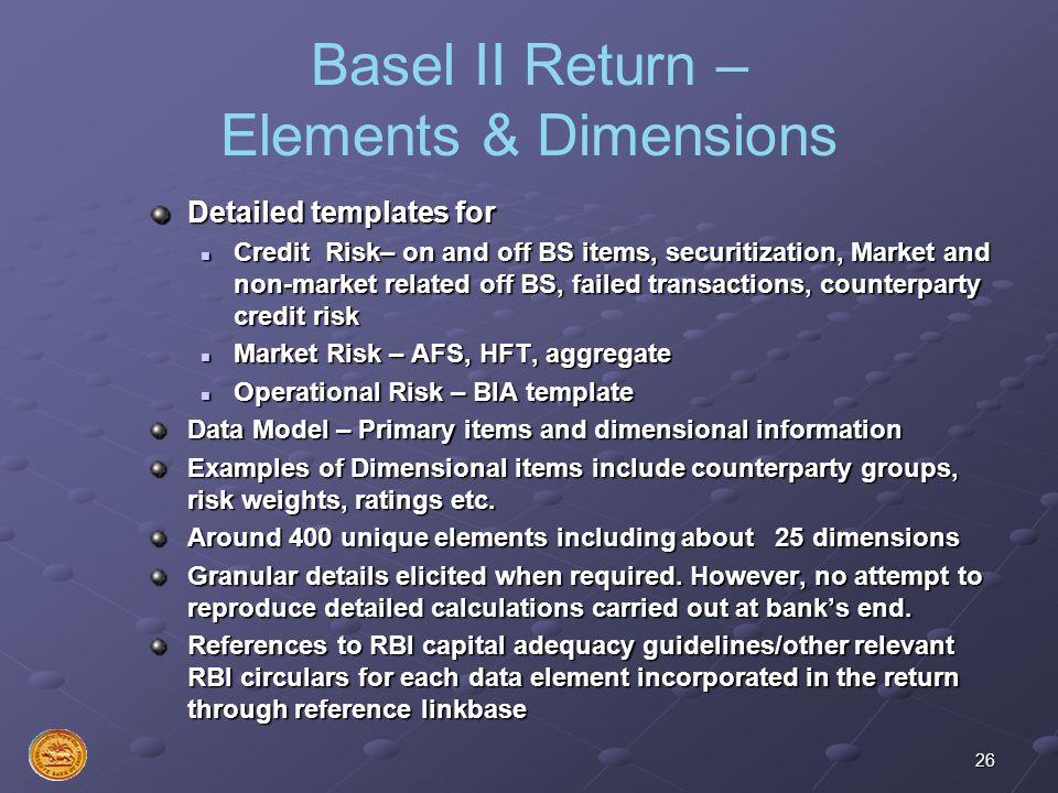 Basel II Return – Elements & Dimensions