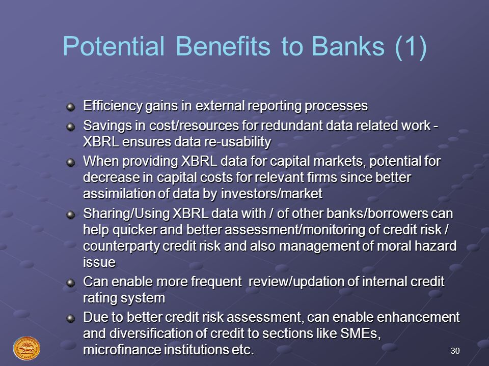 Potential Benefits to Banks (1)
