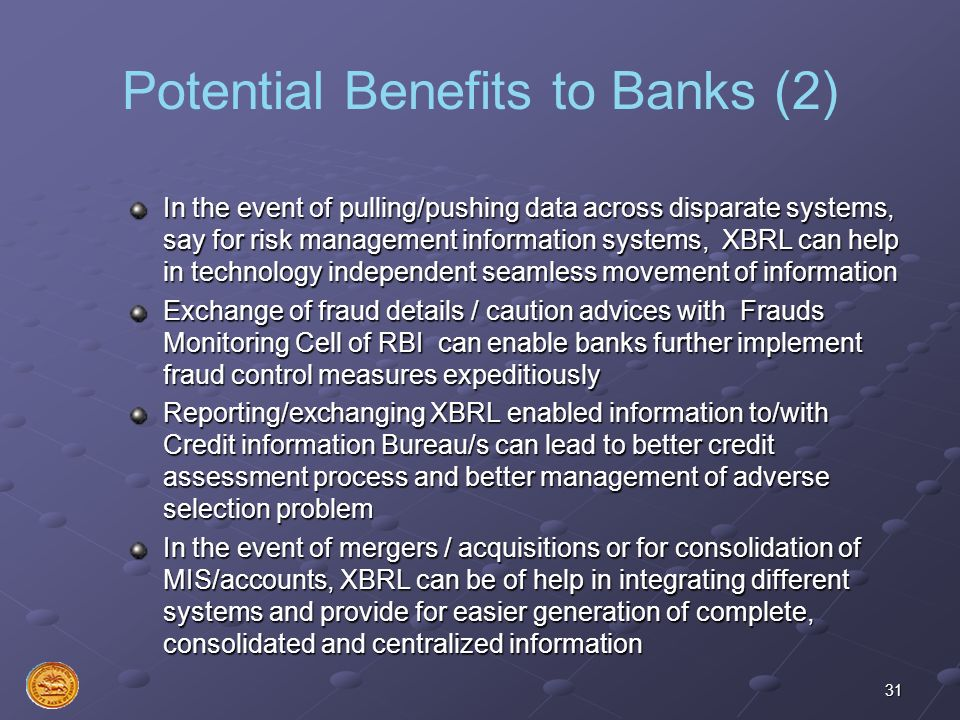 Potential Benefits to Banks (2)