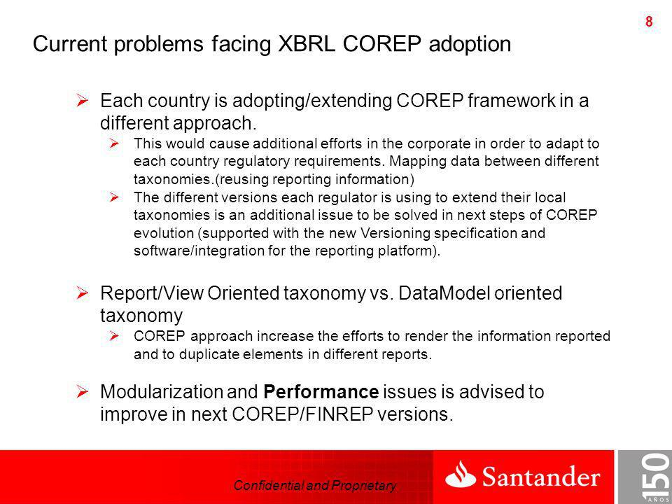 Current problems facing XBRL COREP adoption