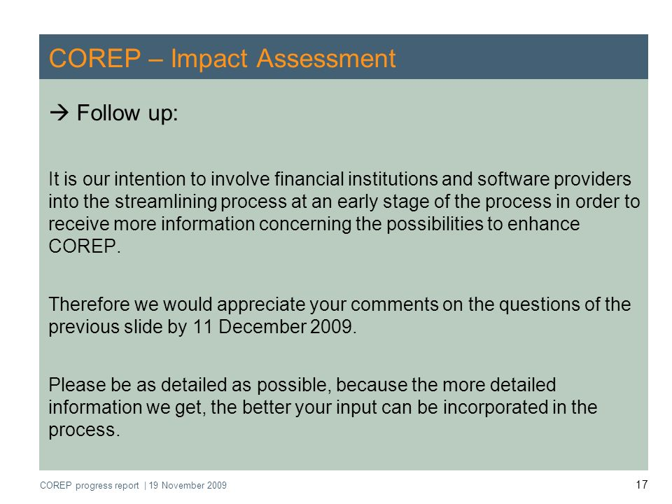 COREP – Impact Assessment