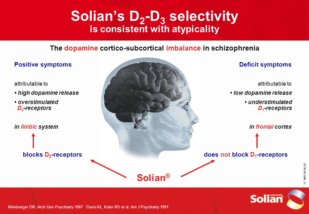 Solian's D2-D3 selectivity is consistent with atypicality The dopamine cortico-subcortical imbalance in schizophrenia