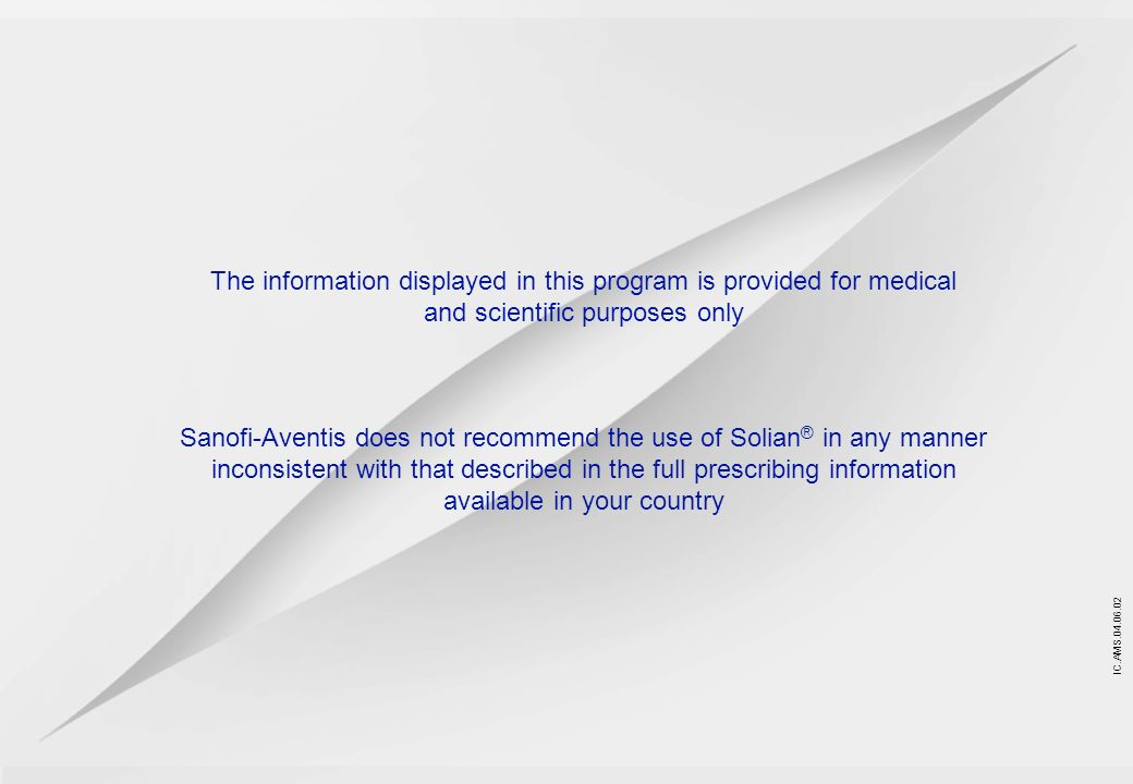 The information displayed in this program is provided for medical and scientific purposes only