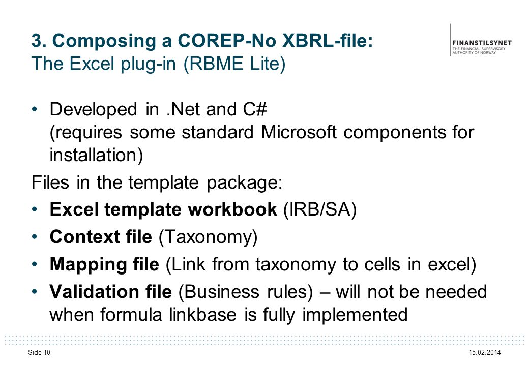3. Composing a COREP-No XBRL-file: The Excel plug-in (RBME Lite)
