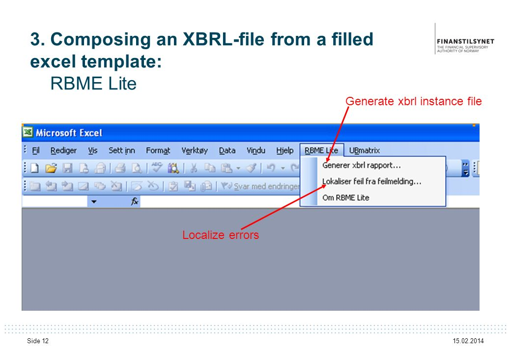3. Composing an XBRL-file from a filled excel template: RBME Lite