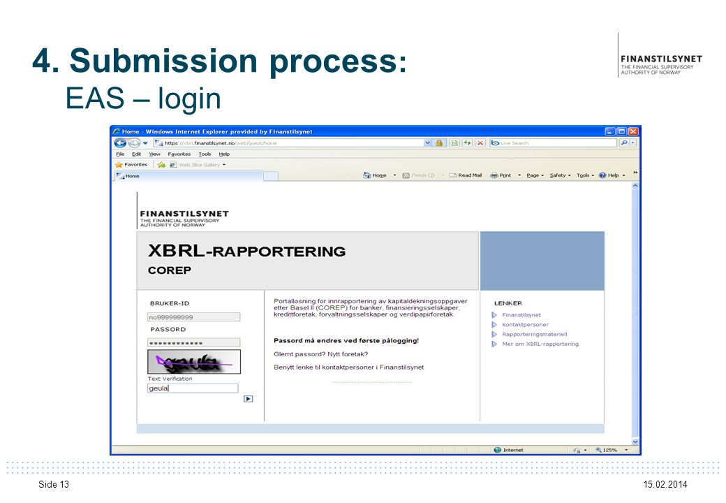 4. Submission process: EAS – login