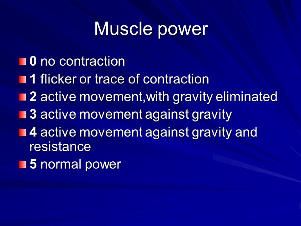 Muscle power 0 no contraction 1 flicker or trace of contraction