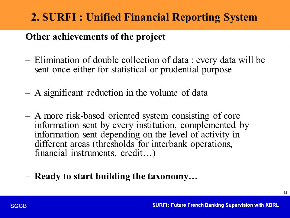 2. SURFI : Unified Financial Reporting System
