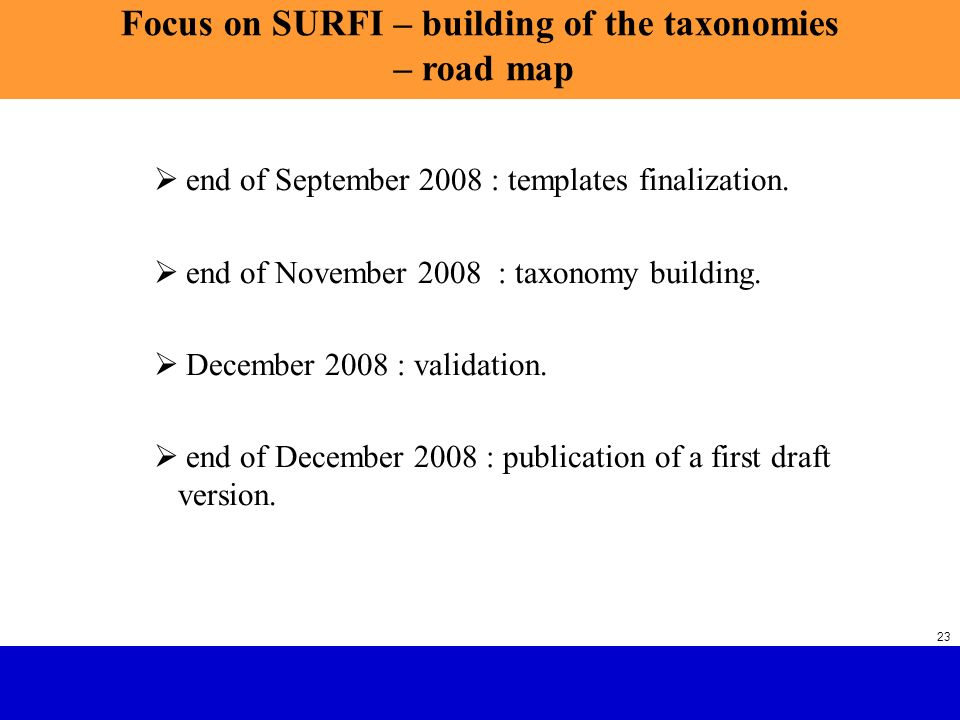 Focus on SURFI – building of the taxonomies – road map