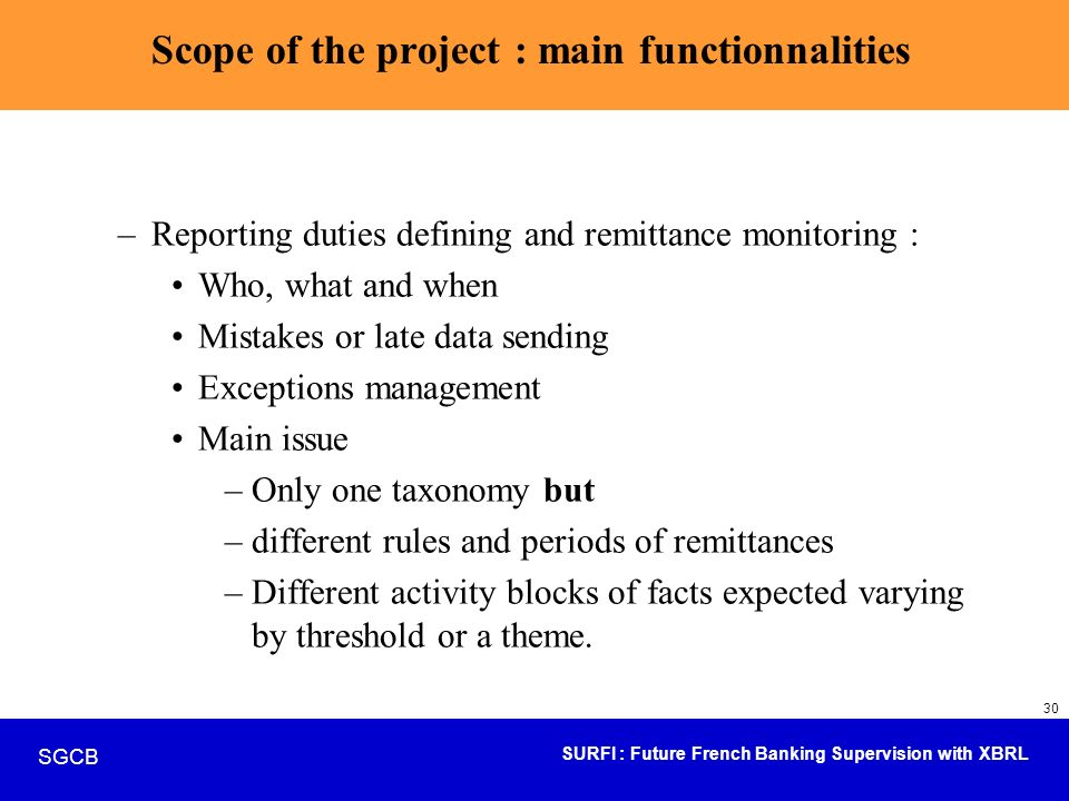 Scope of the project : main functionnalities