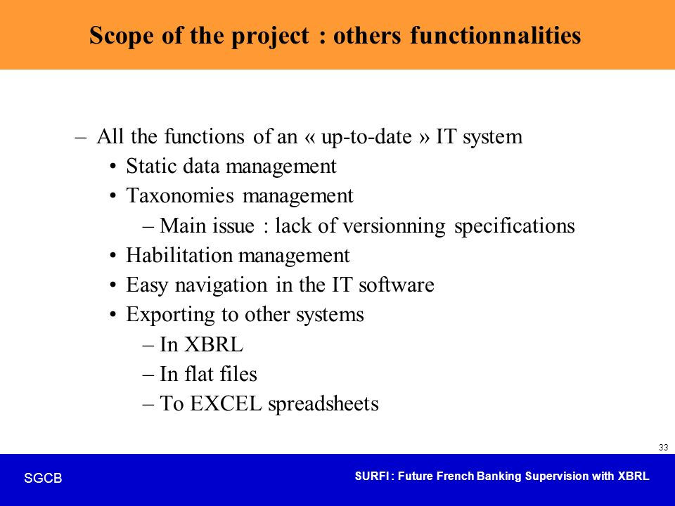 Scope of the project : others functionnalities