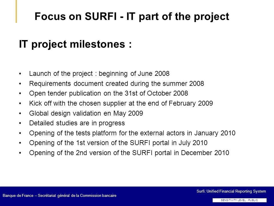 Focus on SURFI - IT part of the project