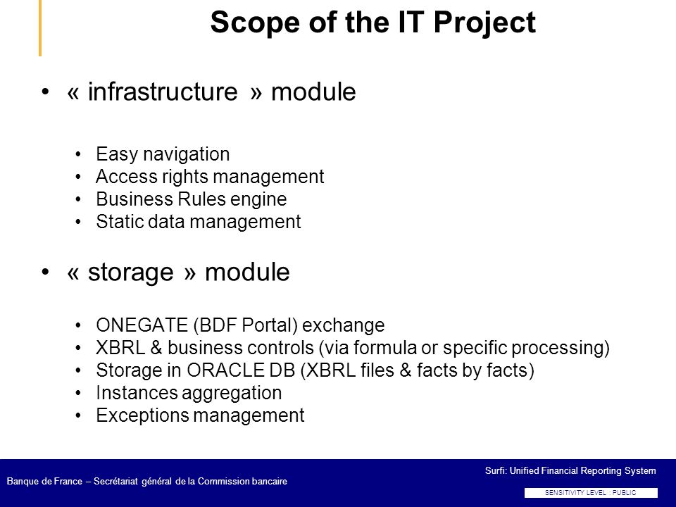 Scope of the IT Project « infrastructure » module « storage » module