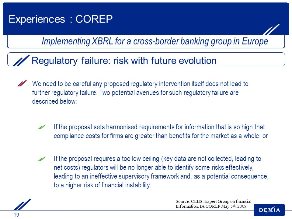 Experiences : COREP Implementing XBRL for a cross-border banking group in Europe. Regulatory failure: risk with future evolution.