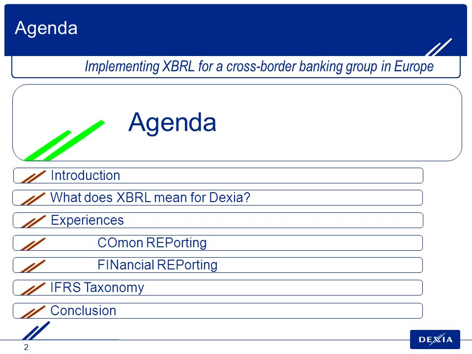 Agenda Implementing XBRL for a cross-border banking group in Europe. Agenda. Introduction. What does XBRL mean for Dexia
