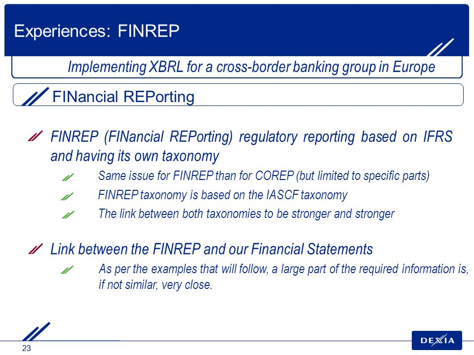 Experiences: FINREP Implementing XBRL for a cross-border banking group in Europe. FINancial REPorting.