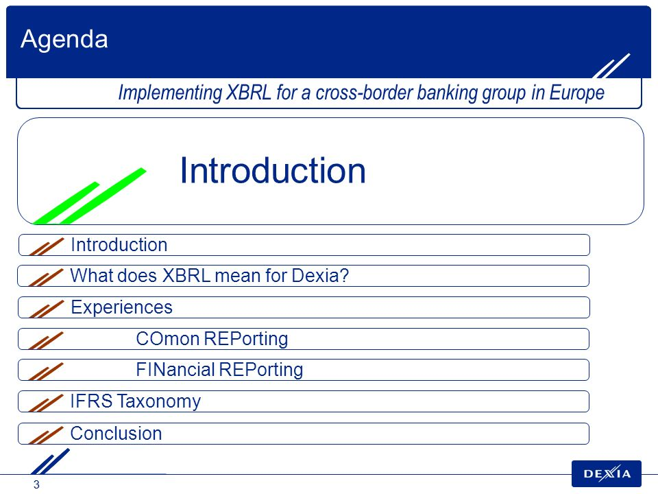 Agenda Implementing XBRL for a cross-border banking group in Europe. Introduction. Introduction. What does XBRL mean for Dexia