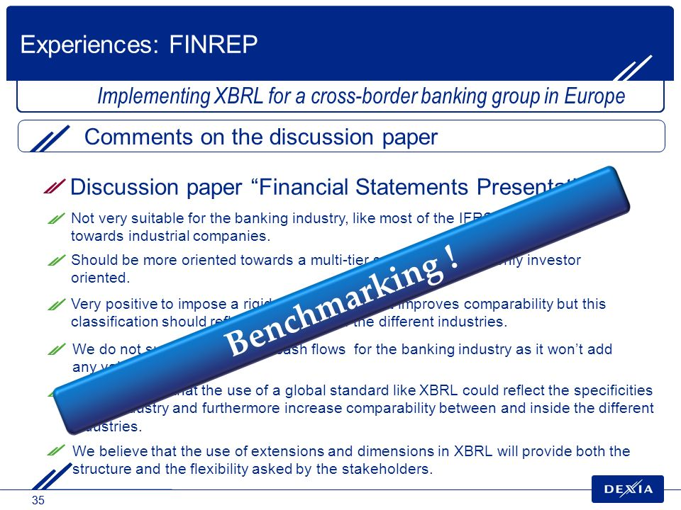 Benchmarking ! Experiences: FINREP